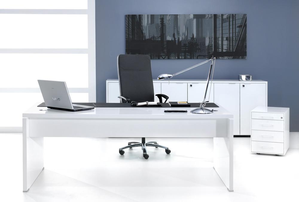Γραφείο Διευθυντικό Dromeas σειράς VIP διάστασης 160Χ100Χ73Η από λευκή λάκα
