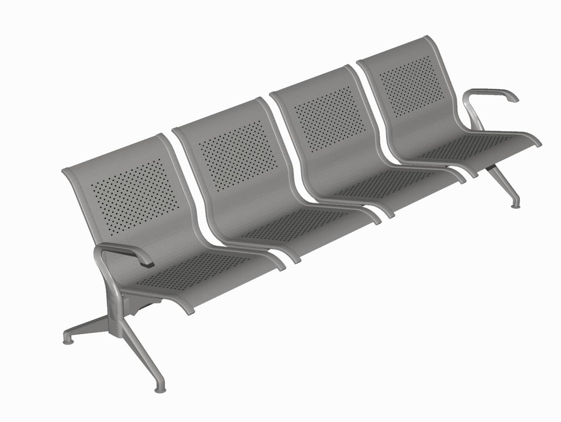 Κάθισμα Αναμονής επί δοκού Dromeas Σειράς Ikaros N Τετραθέσιο Γκρι Μεταλλικό