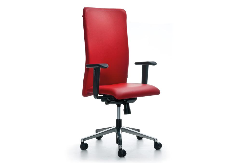 Διευθυντικό Κάθισμα Dromeas Smart D Δερματίνη Κόκκινη Πεντάνευρο Γκρι ασημί
