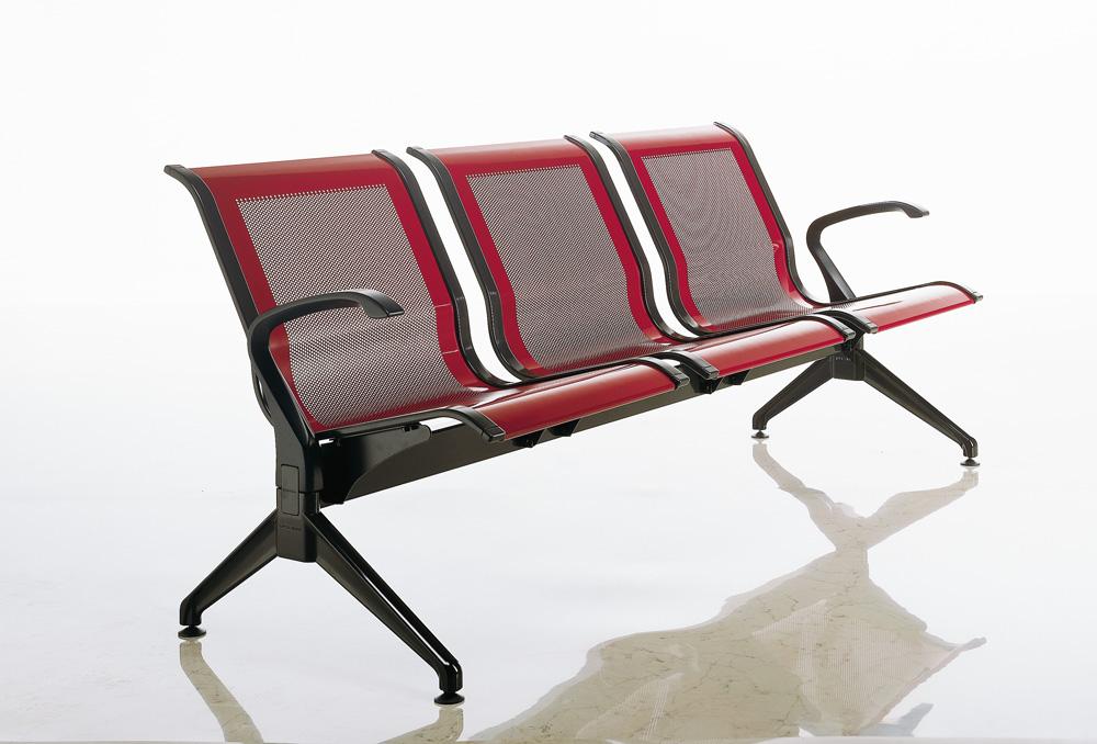Κάθισμα Αναμονής επί δοκού Dromeas Σειράς Ikaros N Τριθέσιο Κόκκινο – Ανθρακί