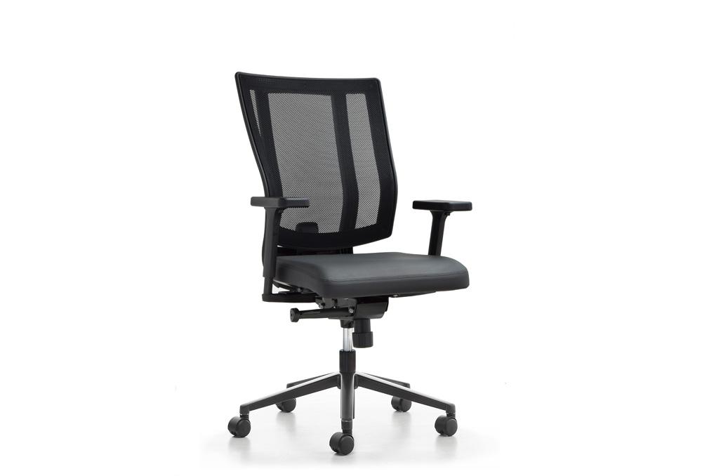 Κάθισμα Εργασίας Dromeas Reflex Πλάτη Δίχτυ Έδρα Δερματίνη Μαύρη Πεντάνευρο Βαμμένο Ανθρακί