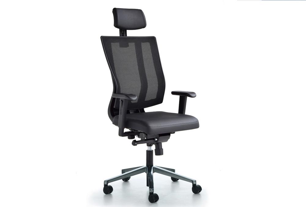 Κάθισμα Διευθυντικό Dromeas Reflex D Πλάτη Δίχτυ Έδρα Δερματίνη Μαύρη Πεντάνευρο Βαμμένο Ανθρακί
