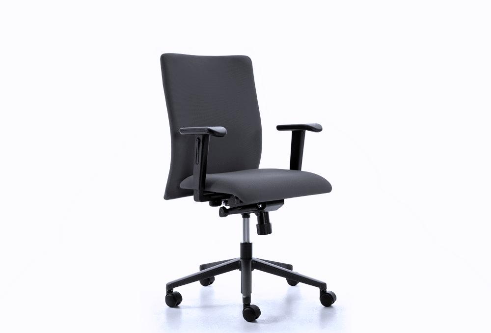 Κάθισμα Εργασίας Dromeas Smart Synchro με Μπράτσα Δερματίνη Μαύρη Πεντάνευρο Ανθρακί
