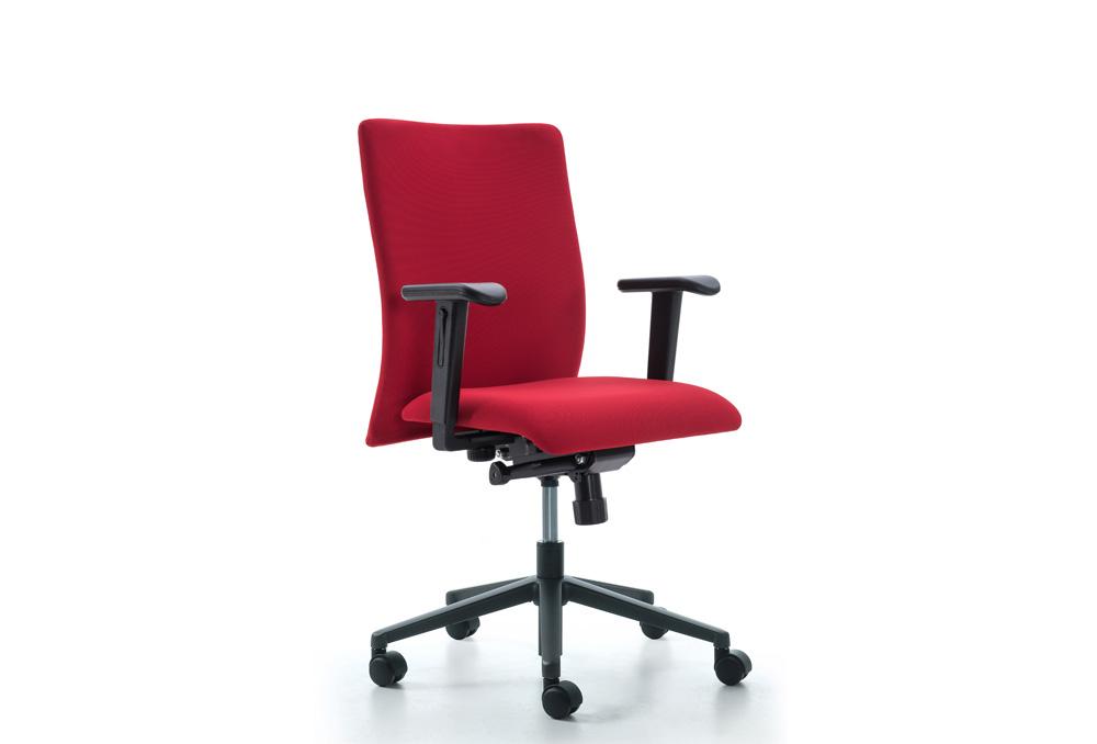 Κάθισμα Εργασίας Dromeas Smart Synchro με Μπράτσα Ύφασμα Κατ1 Κόκκινο Πεντάνευρο Ανθρακί