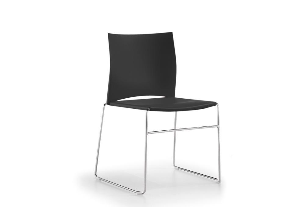 Κάθισμα Σεμιναρίου Dromeas Ena Πλαστική Μαύρη Έδρα Πλάτη Σκελετός Χρωμιωμένος