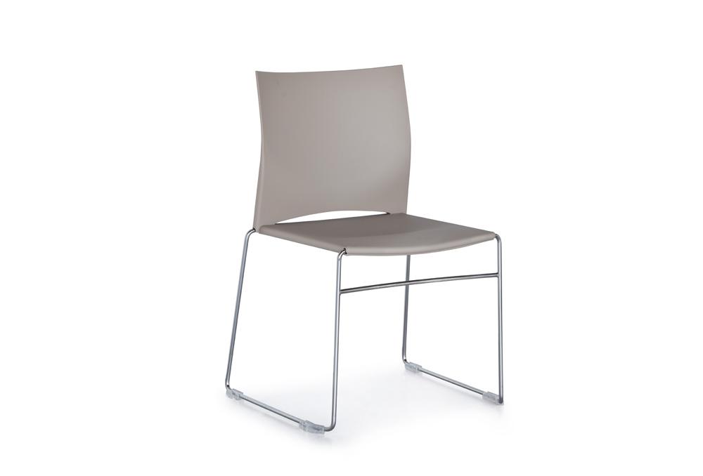Κάθισμα Σεμιναρίου Dromeas Ena Πλαστική Μπεζ Έδρα Πλάτη Σκελετός Χρωμιωμένος