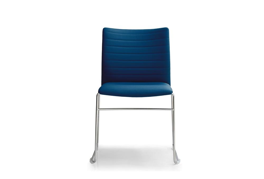 Κάθισμα Σεμιναρίου Dromeas Ena Δερματίνη Μπλε Σκελετός Χρωμιωμένος
