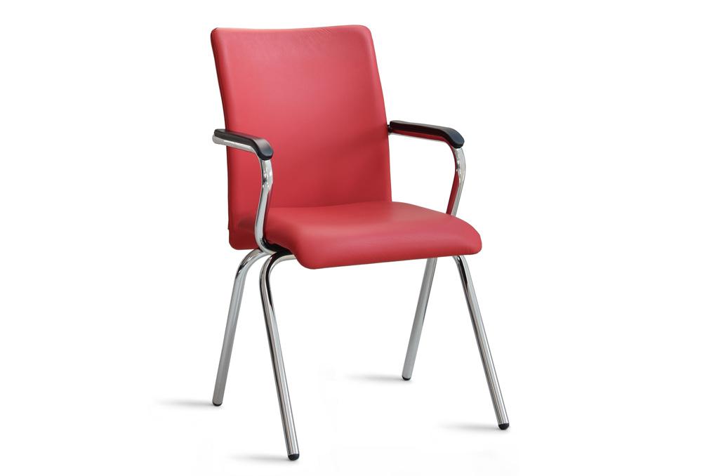 Κάθισμα Συνεργασίας Dromeas Libero Δερματίνη Κόκκινη Σκελετός Χρωμιωμένος