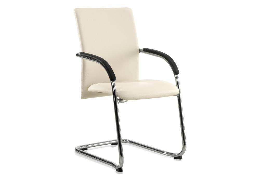 Κάθισμα Συνεργασίας Dromeas Vip E Δερματίνη Μπεζ Σκελετός Χρωμιωμένος