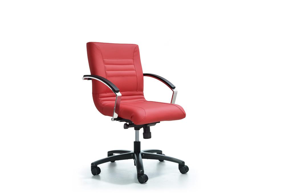 Κάθισμα Εργασίας Dromeas Line Synchro με Μπράτσα Δερματίνη Κόκκινη Πεντάνευρο Ανθρακί