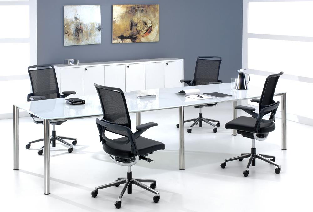 Γραφείο συνεδριάσεων Dromeas σειράς Slim διάστασης 320Χ120Χ73Η με σκελετό  Inox και επιφάνεια από γυαλί βαμμένο