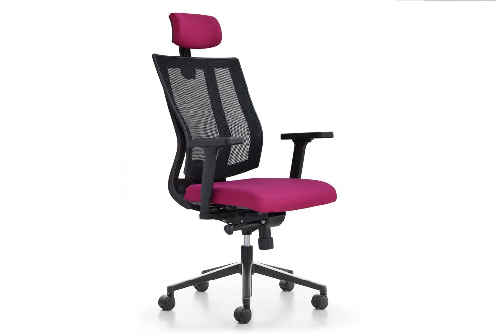 Κάθισμα Διευθυντικό Dromeas Reflex D Πλάτη Δίχτυ Έδρα Ύφασμα Μωβ Πεντάνευρο Βαμμένο Ανθρακί