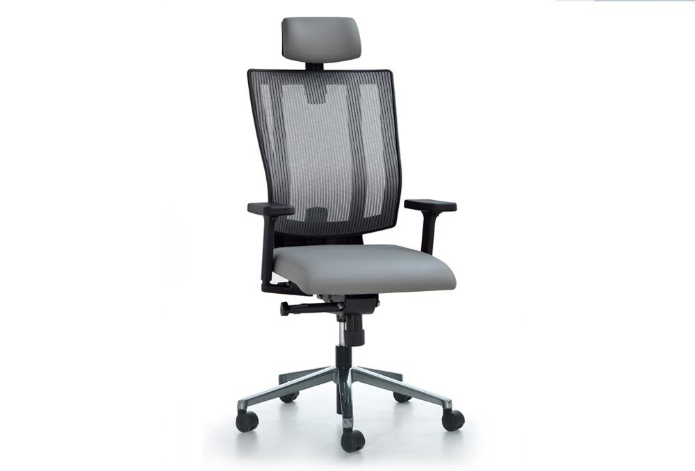 Κάθισμα Διευθυντικό Dromeas Reflex D Πλάτη Δίχτυ Γκρι Έδρα Δερματίνη Γκρι Πεντάνευρο Γυαλισμένο
