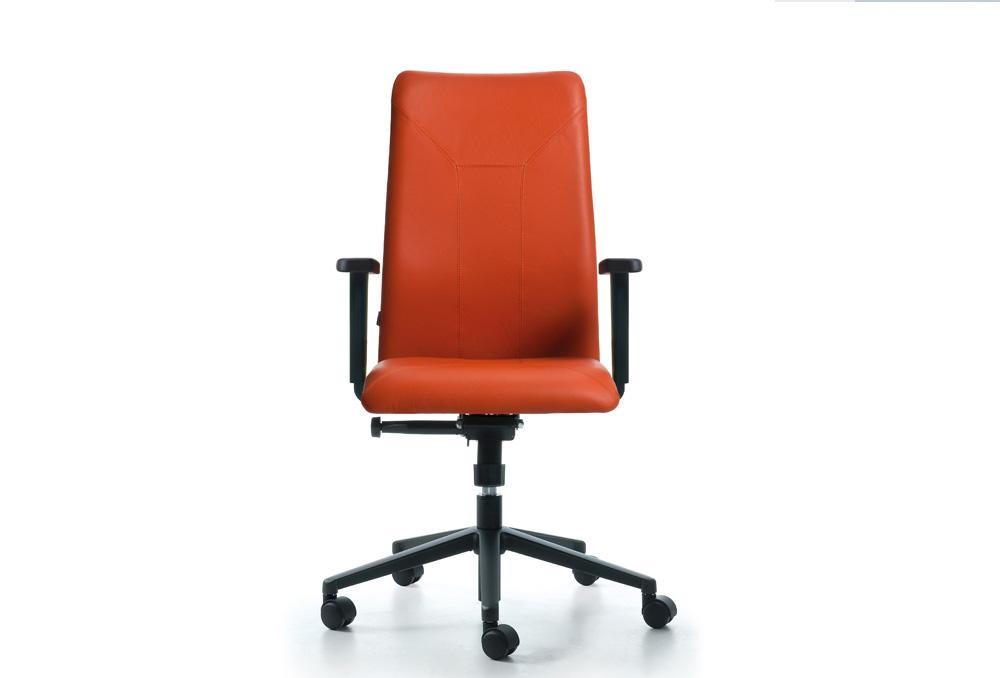 Διευθυντικό Κάθισμα Dromeas Smart D Τραπεζοειδής Δέρμα Πορτοκαλί Πεντάνευρο Ανθρακί