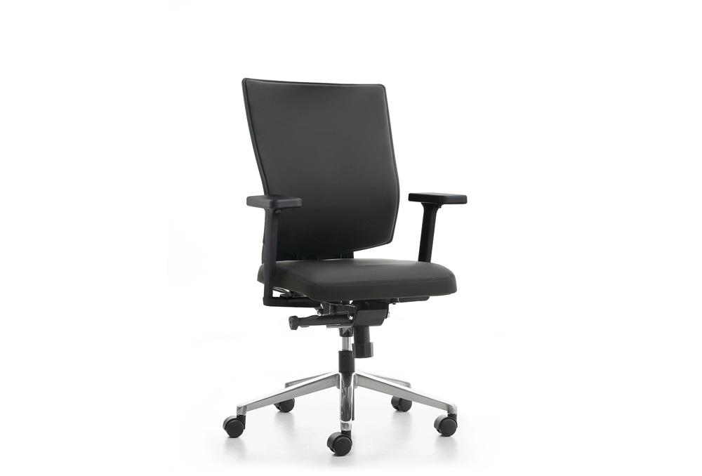 Κάθισμα Εργασίας Dromeas Reflex  Δερματίνη Μαύρη  Πεντάνευρο Γυαλισμένο