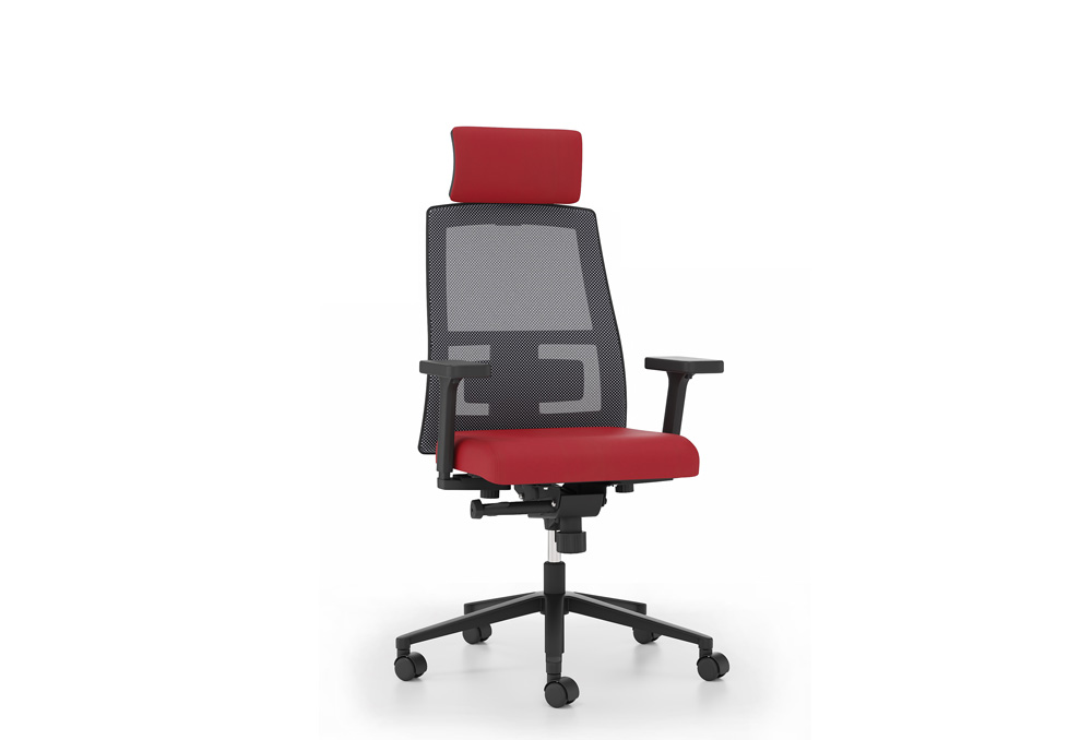 Κάθισμα Διευθυντικό Dromeas Action D Πλάτη Δίχτυ Έδρα Δερματίνη Κόκκινη Πεντάνευρο Βαμμένο Μαύρο