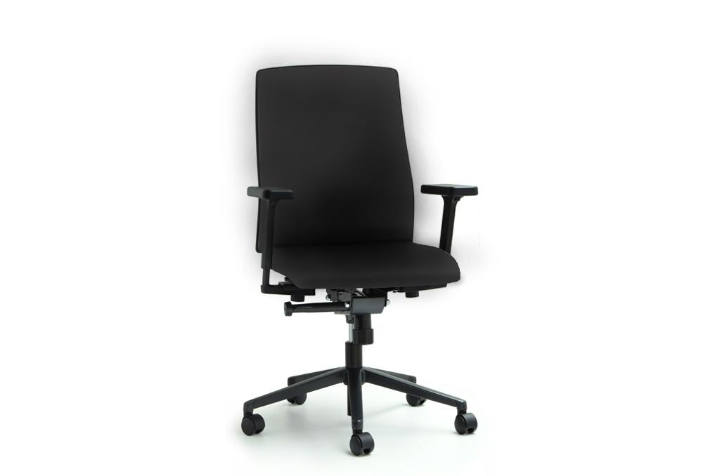 Κάθισμα Εργασίας Dromeas Action  Δερματίνη Μαύρη Πεντάνευρο Βαμμένο Ανθρακί