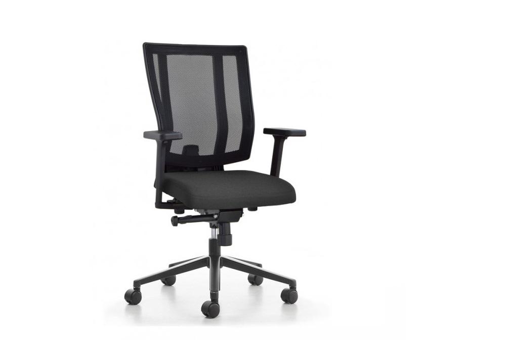 Κάθισμα Εργασίας Dromeas Reflex Πλάτη Δίχτυ Έδρα Ύφασμα Μαύρο Πεντάνευρο Βαμμένο Ανθρακί